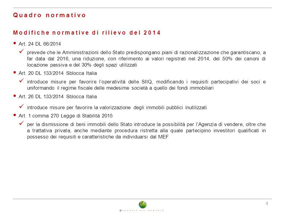 4 Quadro normativo Modifiche normative di rilievo del 2014  Art. 24 DL 66/2014 prevede che le Amministrazioni dello Stato predispongano piani di razi