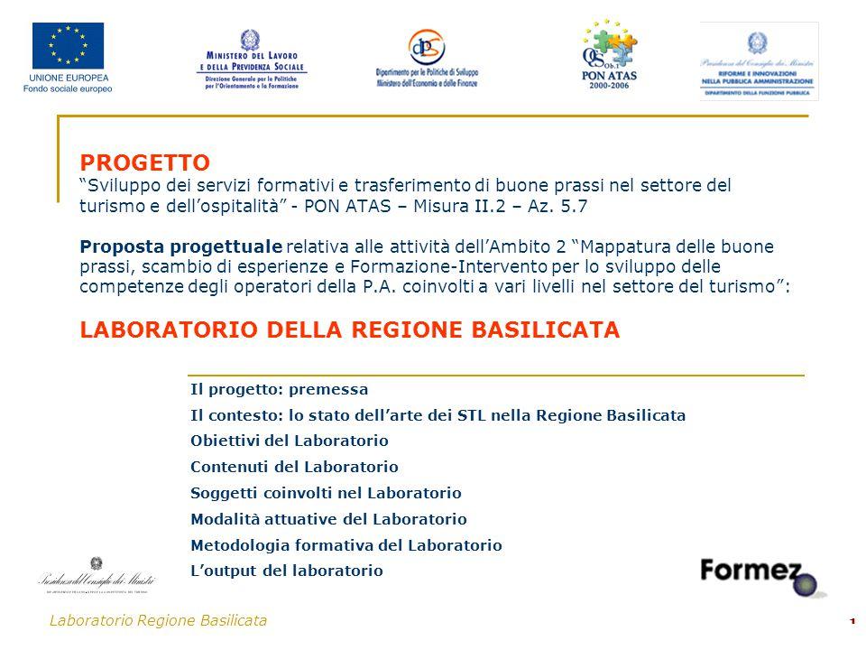 Laboratorio Regione Basilicata 1 PROGETTO Sviluppo dei servizi formativi e trasferimento di buone prassi nel settore del turismo e dell'ospitalità - PON ATAS – Misura II.2 – Az.