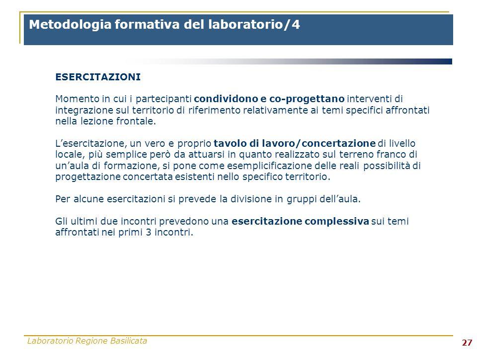 Laboratorio Regione Basilicata 27 ESERCITAZIONI Momento in cui i partecipanti condividono e co-progettano interventi di integrazione sul territorio di riferimento relativamente ai temi specifici affrontati nella lezione frontale.