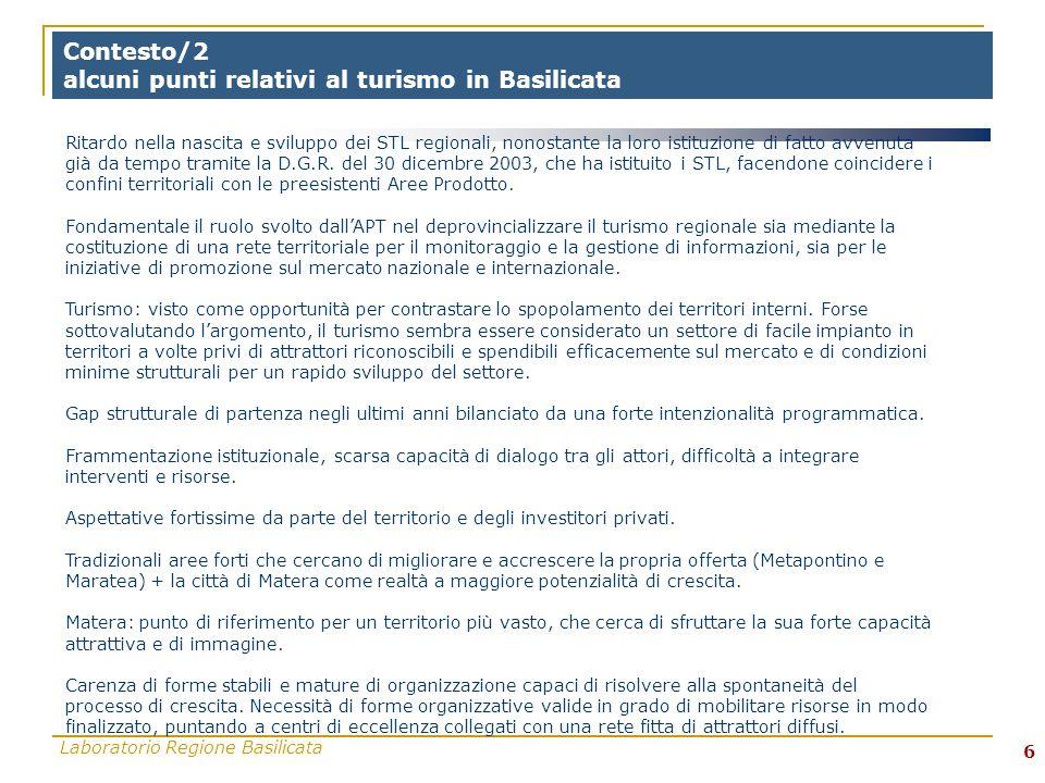 Laboratorio Regione Basilicata 6 Contesto/2 alcuni punti relativi al turismo in Basilicata Ritardo nella nascita e sviluppo dei STL regionali, nonostante la loro istituzione di fatto avvenuta già da tempo tramite la D.G.R.
