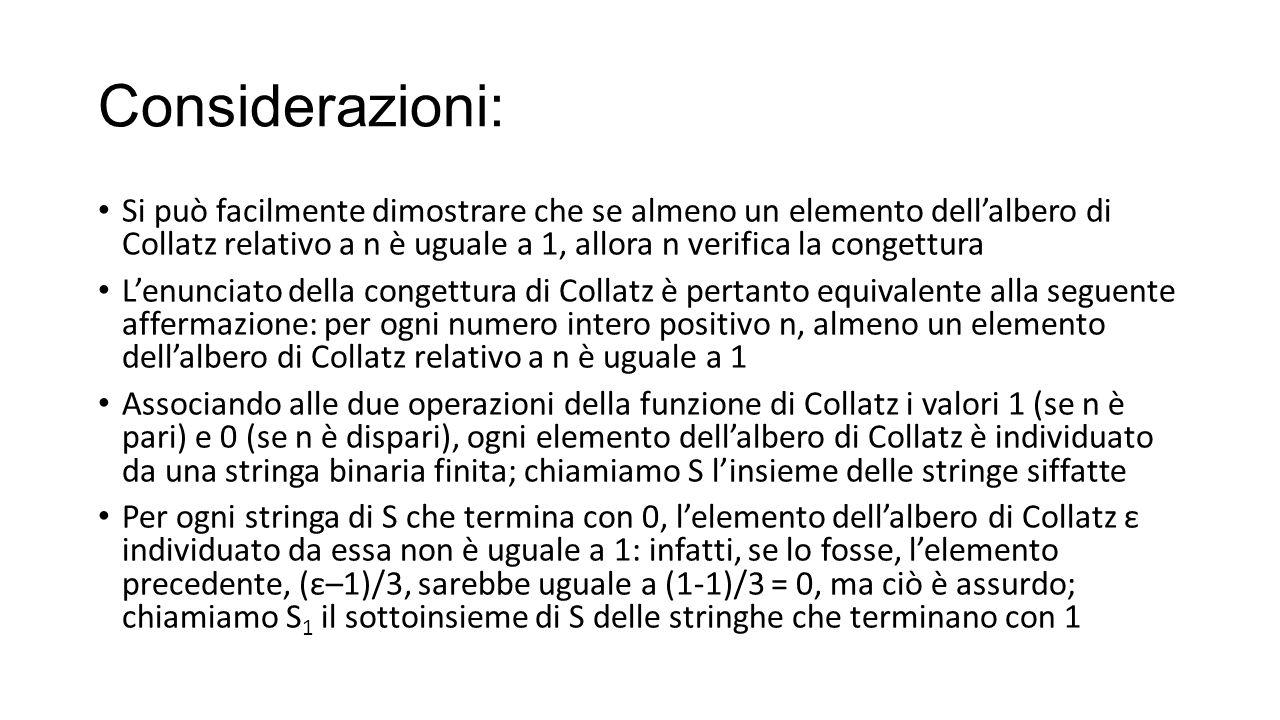 Considerazioni: Si può facilmente dimostrare che se almeno un elemento dell'albero di Collatz relativo a n è uguale a 1, allora n verifica la congettu