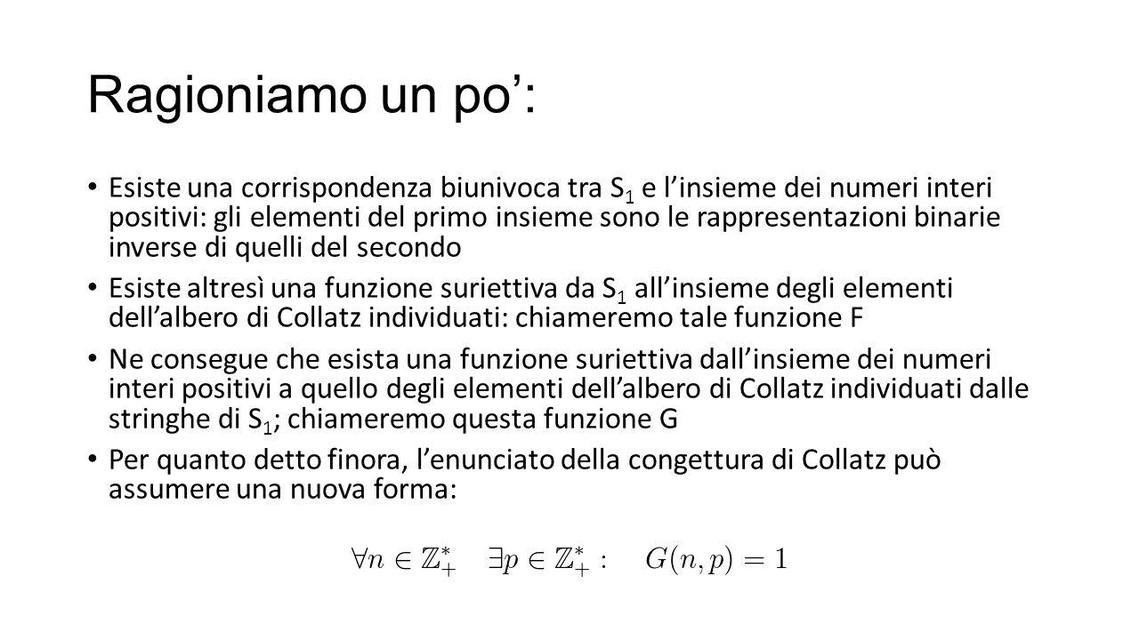 Ragioniamo un po': Esiste una corrispondenza biunivoca tra S 1 e l'insieme dei numeri interi positivi: gli elementi del primo insieme sono le rapprese