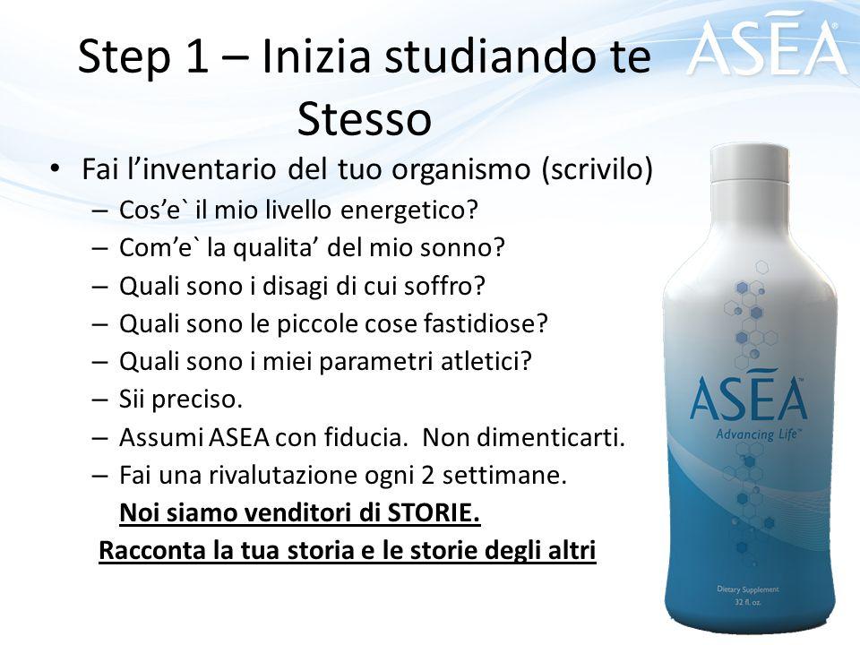 Step 1 – Inizia studiando te Stesso Fai l'inventario del tuo organismo (scrivilo) – Cos'e` il mio livello energetico? – Com'e` la qualita' del mio son
