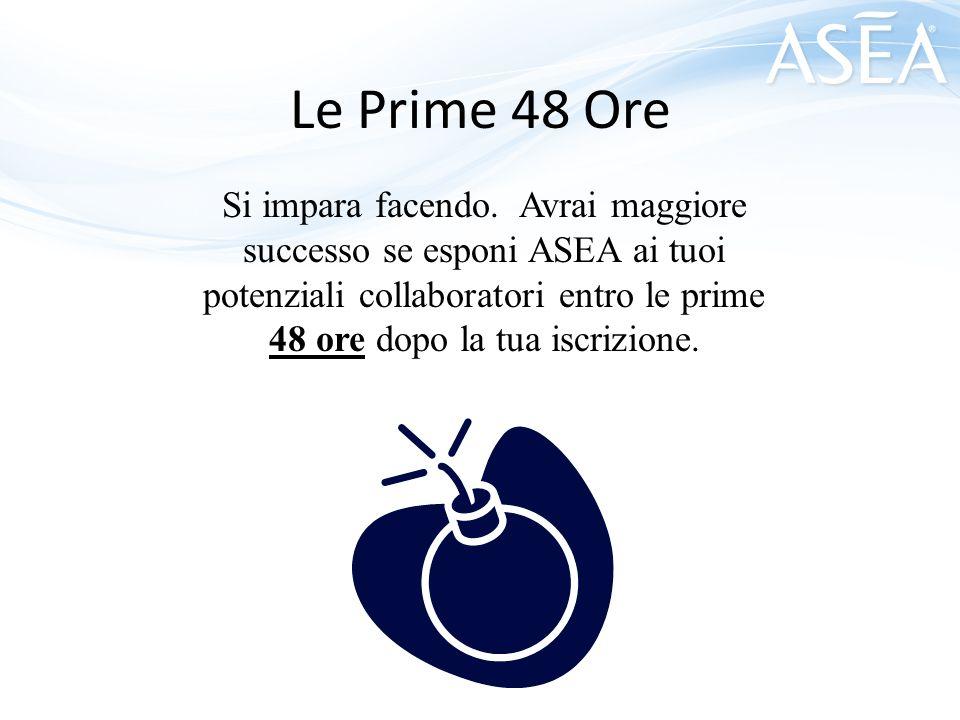 Le Prime 48 Ore Si impara facendo. Avrai maggiore successo se esponi ASEA ai tuoi potenziali collaboratori entro le prime 48 ore dopo la tua iscrizion