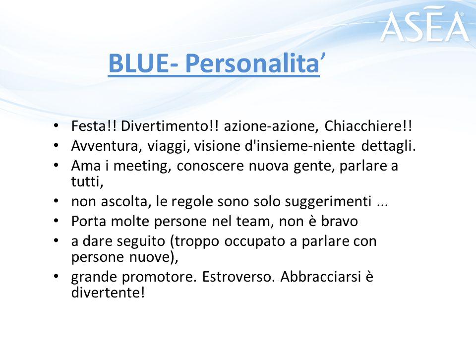 BLUE- Personalita' Festa!! Divertimento!! azione-azione, Chiacchiere!! Avventura, viaggi, visione d'insieme-niente dettagli. Ama i meeting, conoscere