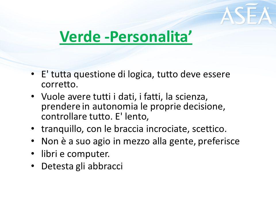 Verde -Personalita' E' tutta questione di logica, tutto deve essere corretto. Vuole avere tutti i dati, i fatti, la scienza, prendere in autonomia le