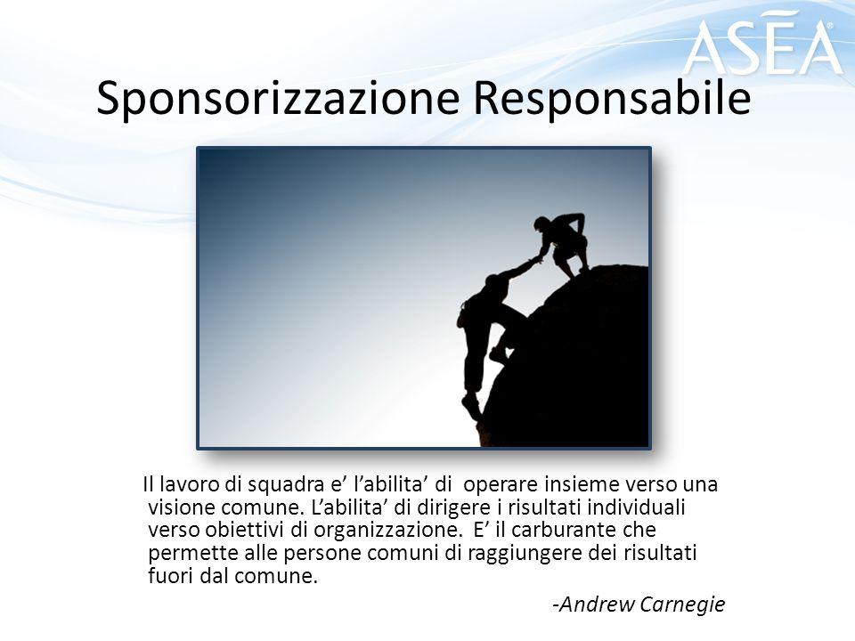Sponsorizzazione Responsabile Il lavoro di squadra e' l'abilita' di operare insieme verso una visione comune. L'abilita' di dirigere i risultati indiv
