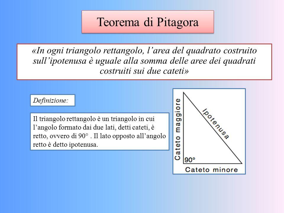 Teorema di Pitagora «In ogni triangolo rettangolo, l'area del quadrato costruito sull'ipotenusa è uguale alla somma delle aree dei quadrati costruiti