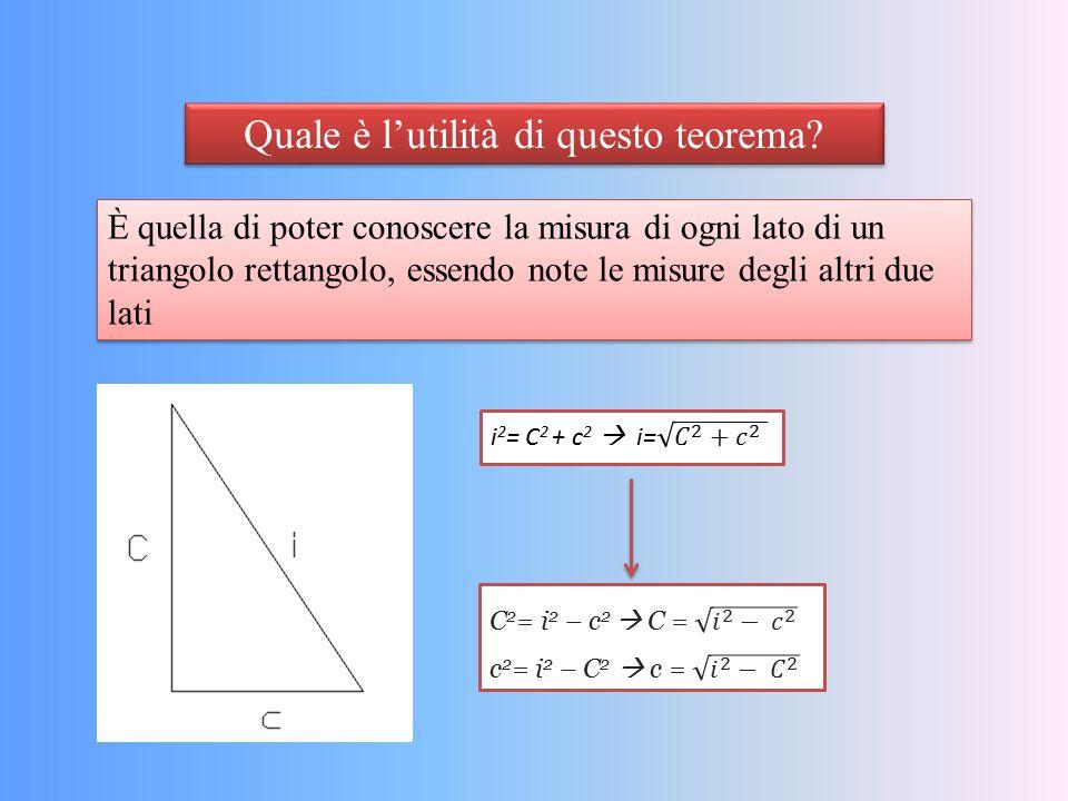 Quale è l'utilità di questo teorema? È quella di poter conoscere la misura di ogni lato di un triangolo rettangolo, essendo note le misure degli altri