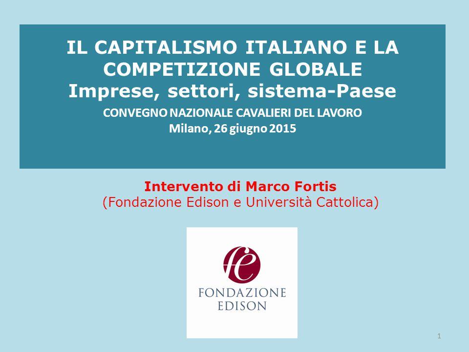 L'ITALIA NELL'ECONOMIA REALE DELL'UE: ANNO 2014 AGRICOLTURA, FORESTE, PESCA – L'Italia è co-leader nell'UE con la Francia per valore aggiunto: 31,6 miliardi € INDUSTRIA MANIFATTURIERA - L'Italia è seconda nell'UE per valore aggiunto dopo la Germania: 225,5 miliardi € TURISMO INTERNAZIONALE – L'Italia nel 2013 è seconda nell'UE per numero di pernottamenti di turisti stranieri: 185 milioni di notti 12copyright Fondazione Edison