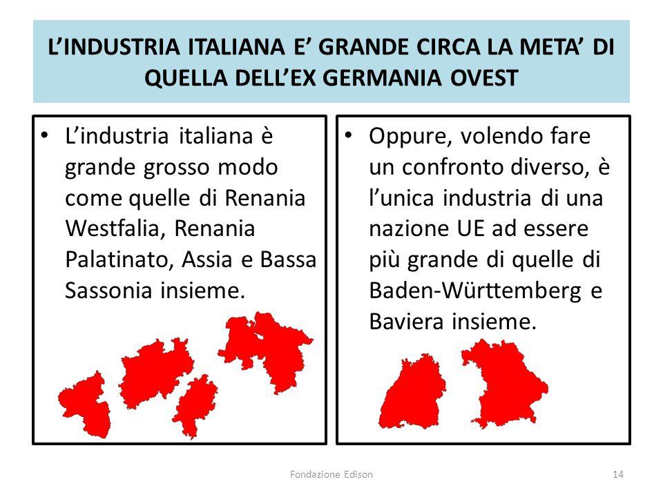 L'INDUSTRIA ITALIANA E' GRANDE CIRCA LA META' DI QUELLA DELL'EX GERMANIA OVEST L'industria italiana è grande grosso modo come quelle di Renania Westfalia, Renania Palatinato, Assia e Bassa Sassonia insieme.