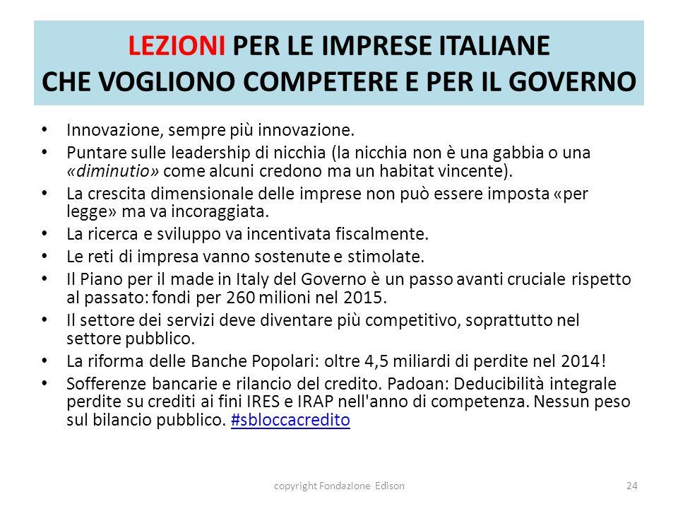 LEZIONI PER LE IMPRESE ITALIANE CHE VOGLIONO COMPETERE E PER IL GOVERNO Innovazione, sempre più innovazione.