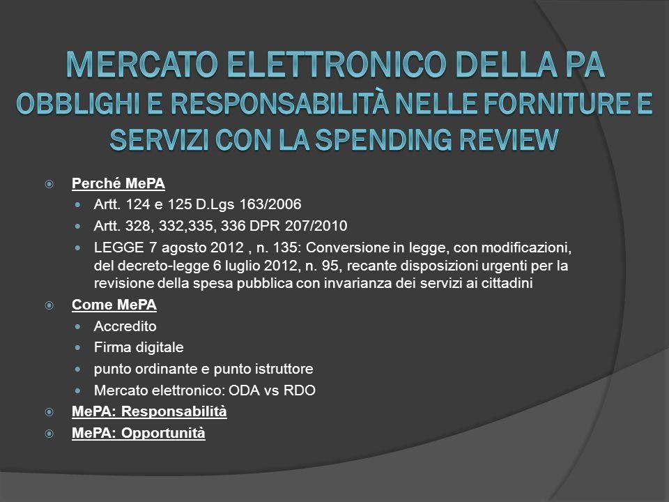  Perché MePA Artt.124 e 125 D.Lgs 163/2006 Artt.