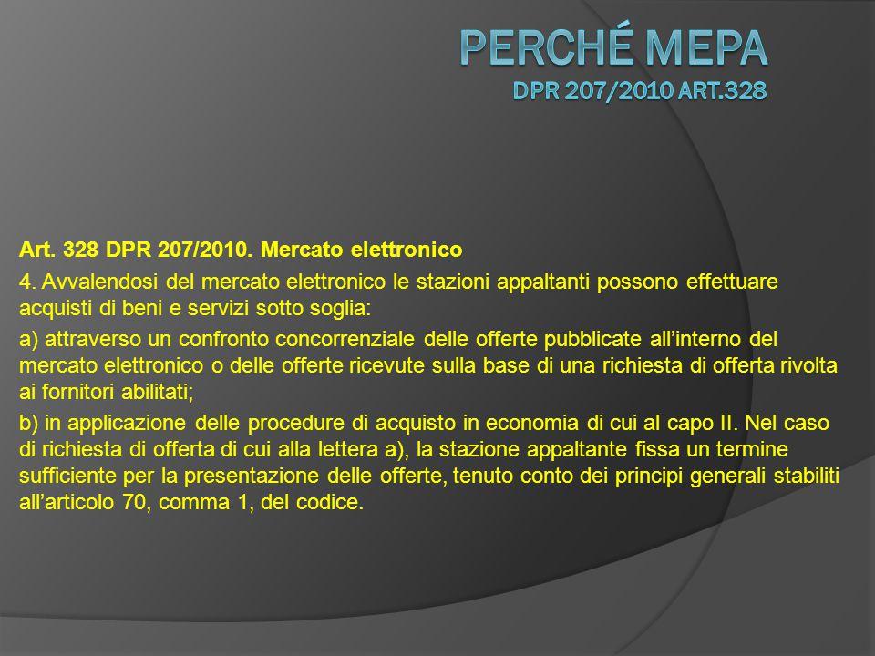 Art.328 DPR 207/2010. Mercato elettronico 4.