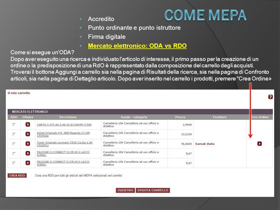  Accredito  Punto ordinante e punto istruttore  Firma digitale  Mercato elettronico: ODA vs RDO Come si esegue un'ODA.