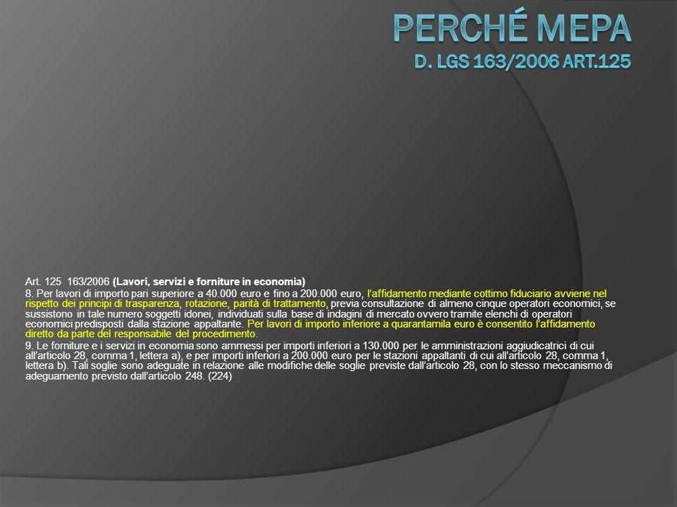 Art.125 163/2006 (Lavori, servizi e forniture in economia) 10.