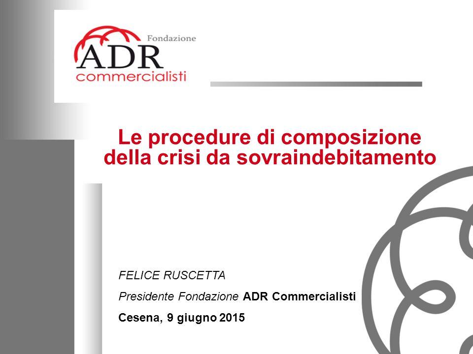 1 Le procedure di composizione della crisi da sovraindebitamento FELICE RUSCETTA Presidente Fondazione ADR Commercialisti Cesena, 9 giugno 2015
