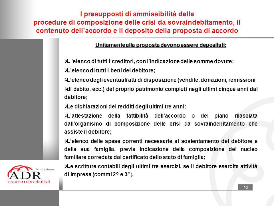 13 I presupposti di ammissibilità delle procedure di composizione delle crisi da sovraindebitamento, il contenuto dell'accordo e il deposito della pro