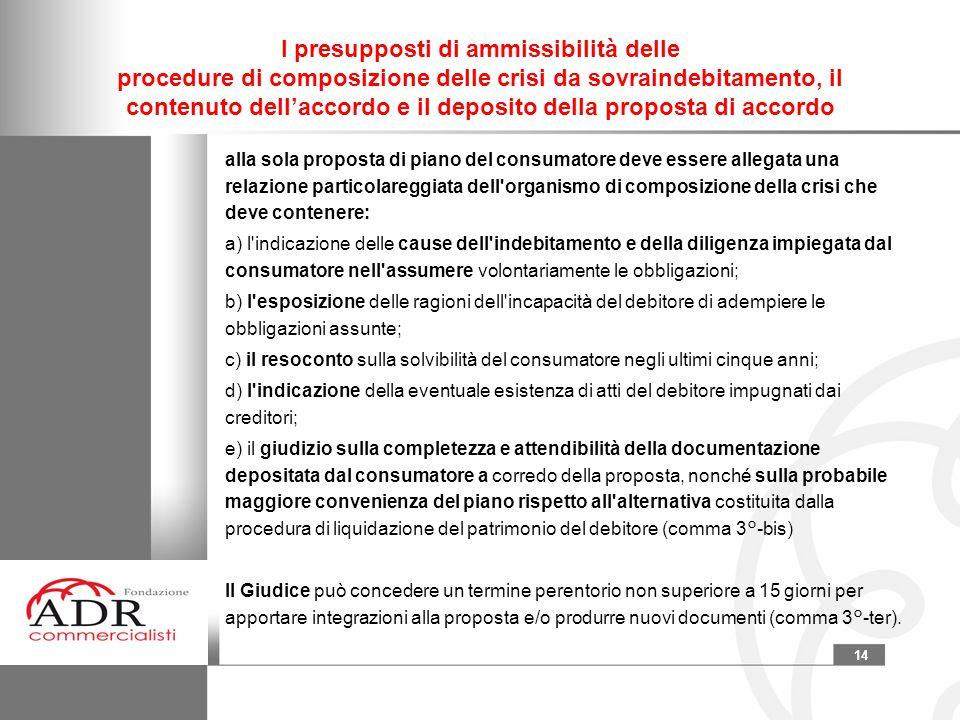 14 I presupposti di ammissibilità delle procedure di composizione delle crisi da sovraindebitamento, il contenuto dell'accordo e il deposito della pro