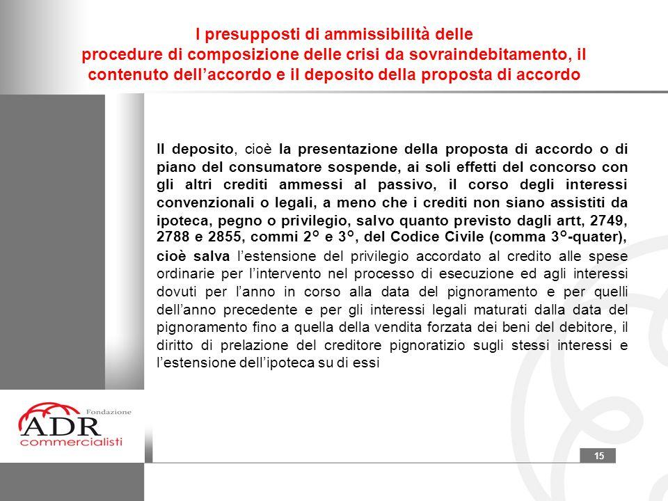 15 I presupposti di ammissibilità delle procedure di composizione delle crisi da sovraindebitamento, il contenuto dell'accordo e il deposito della pro