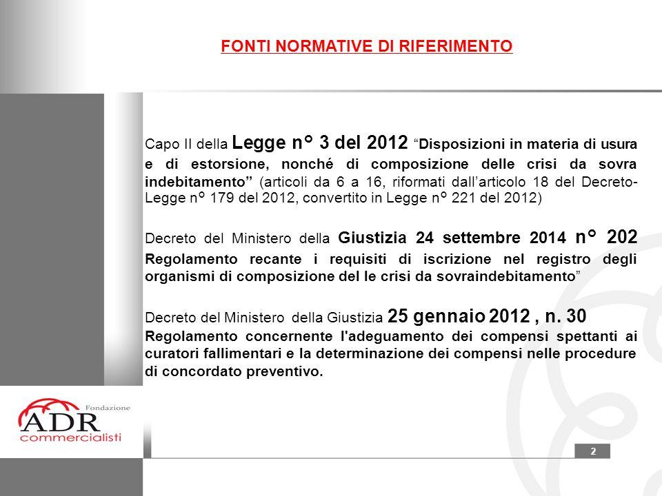 """2 Capo II della Legge n° 3 del 2012 """"Disposizioni in materia di usura e di estorsione, nonché di composizione delle crisi da sovra indebitamento"""" (art"""