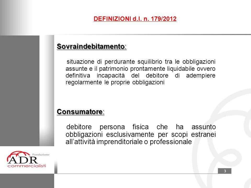 3 DEFINIZIONI d.l. n. 179/2012 Sovraindebitamento: situazione di perdurante squilibrio tra le obbligazioni assunte e il patrimonio prontamente liquida