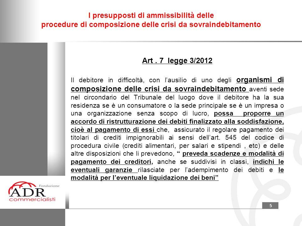 5 I presupposti di ammissibilità delle procedure di composizione delle crisi da sovraindebitamento Art. 7 legge 3/2012 Il debitore in difficoltà, con