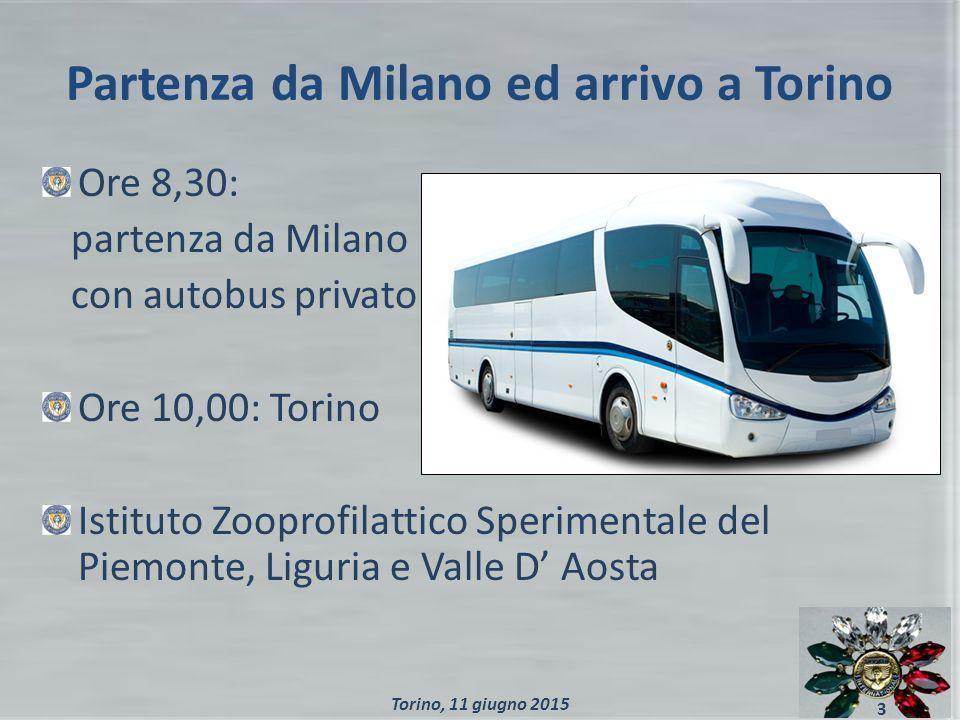 Partenza da Milano ed arrivo a Torino Ore 8,30: partenza da Milano con autobus privato Ore 10,00: Torino Istituto Zooprofilattico Sperimentale del Piemonte, Liguria e Valle D' Aosta 3 Torino, 11 giugno 2015
