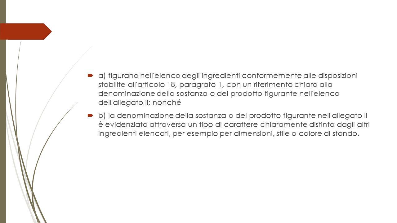 a) figurano nell'elenco degli ingredienti conformemente alle disposizioni stabilite all'articolo 18, paragrafo 1, con un riferimento chiaro alla den