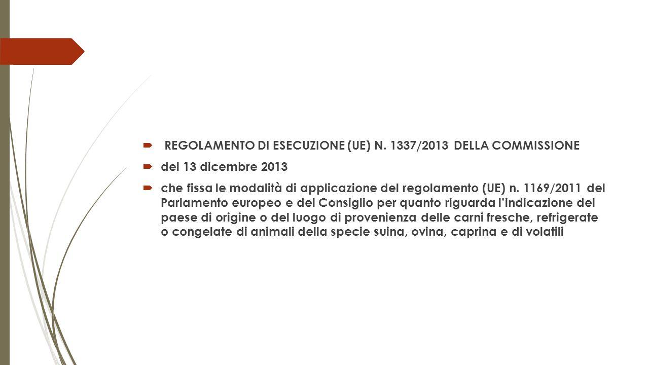  REGOLAMENTO DI ESECUZIONE (UE) N. 1337/2013 DELLA COMMISSIONE  del 13 dicembre 2013  che fissa le modalità di applicazione del regolamento (UE) n.