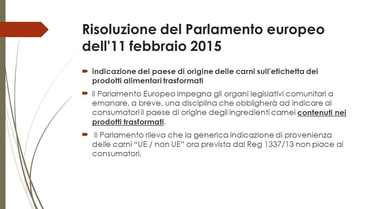 Risoluzione del Parlamento europeo dell'11 febbraio 2015  indicazione del paese di origine delle carni sull'etichetta dei prodotti alimentari trasfor
