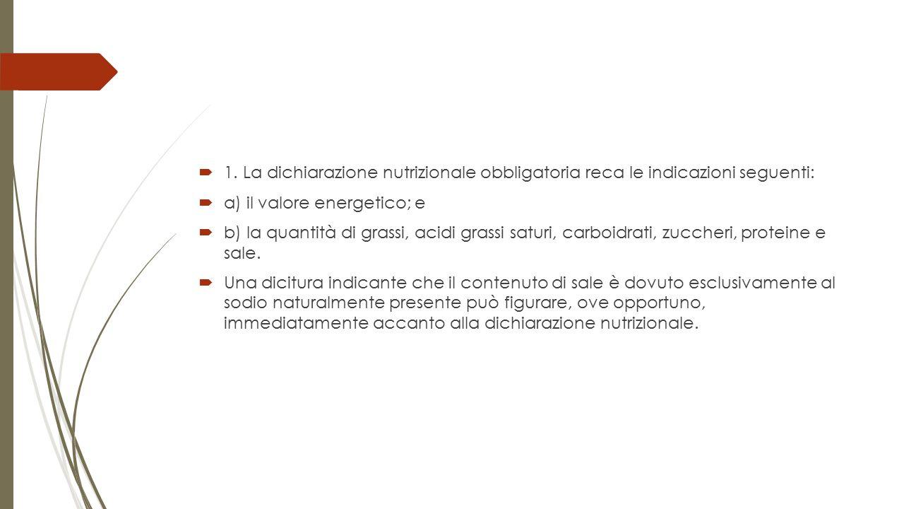 1. La dichiarazione nutrizionale obbligatoria reca le indicazioni seguenti:  a) il valore energetico; e  b) la quantità di grassi, acidi grassi sa