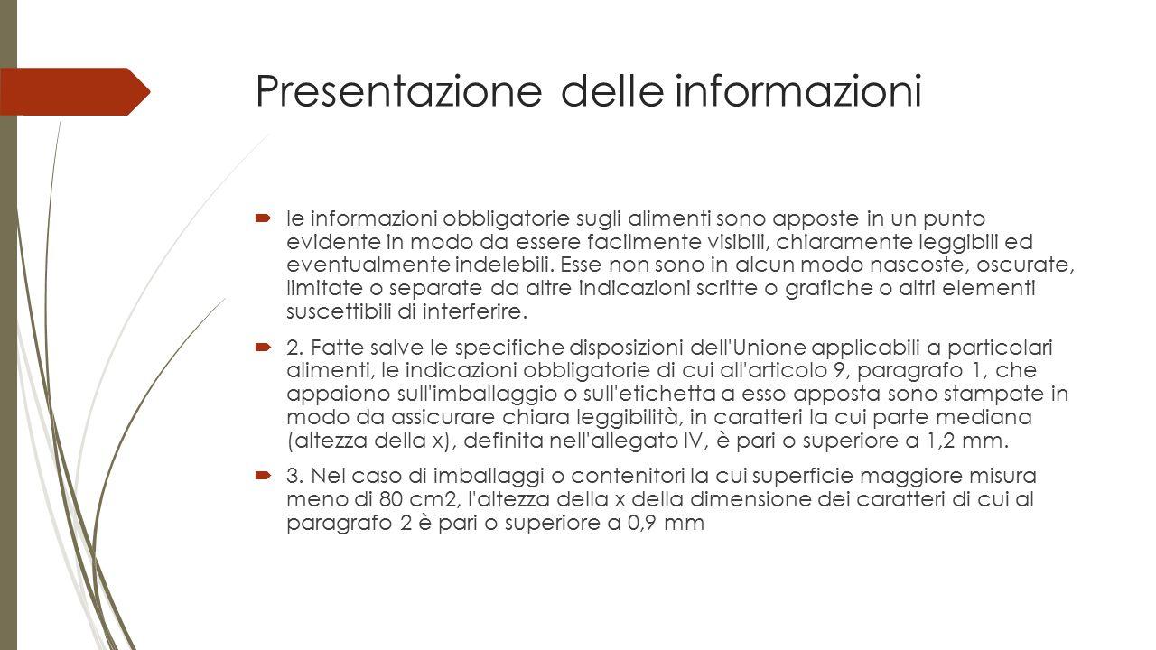 Presentazione delle informazioni  le informazioni obbligatorie sugli alimenti sono apposte in un punto evidente in modo da essere facilmente visibili