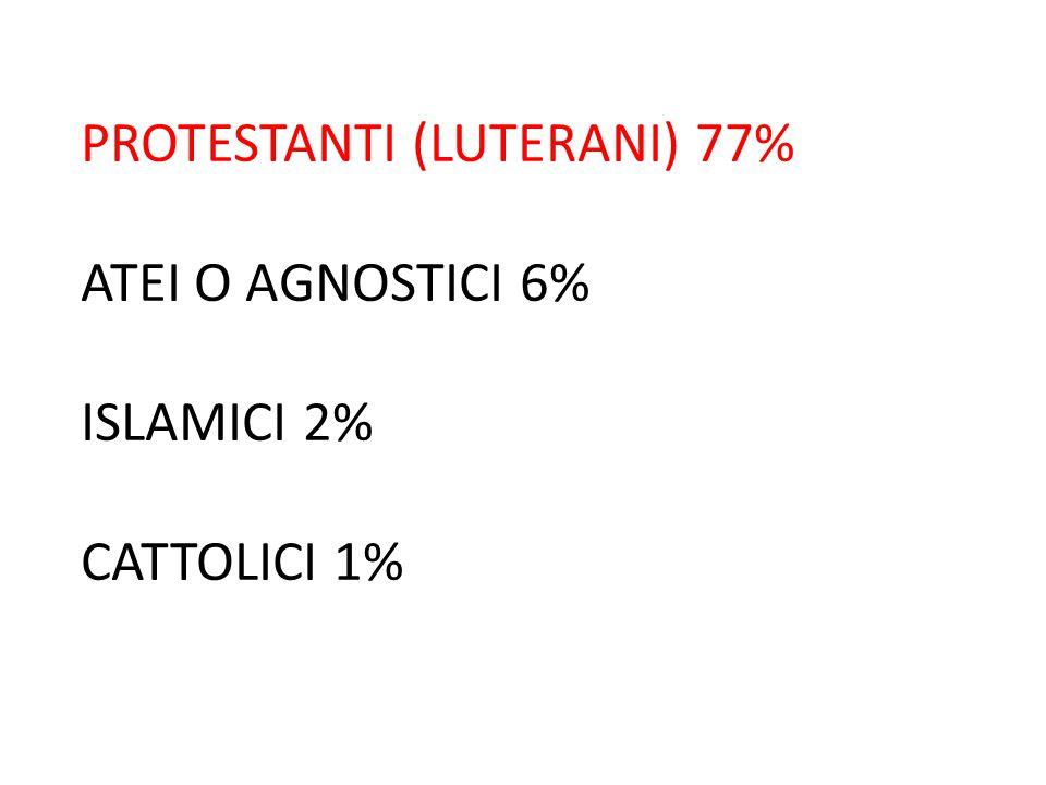 PROTESTANTI (LUTERANI) 77% ATEI O AGNOSTICI 6% ISLAMICI 2% CATTOLICI 1%
