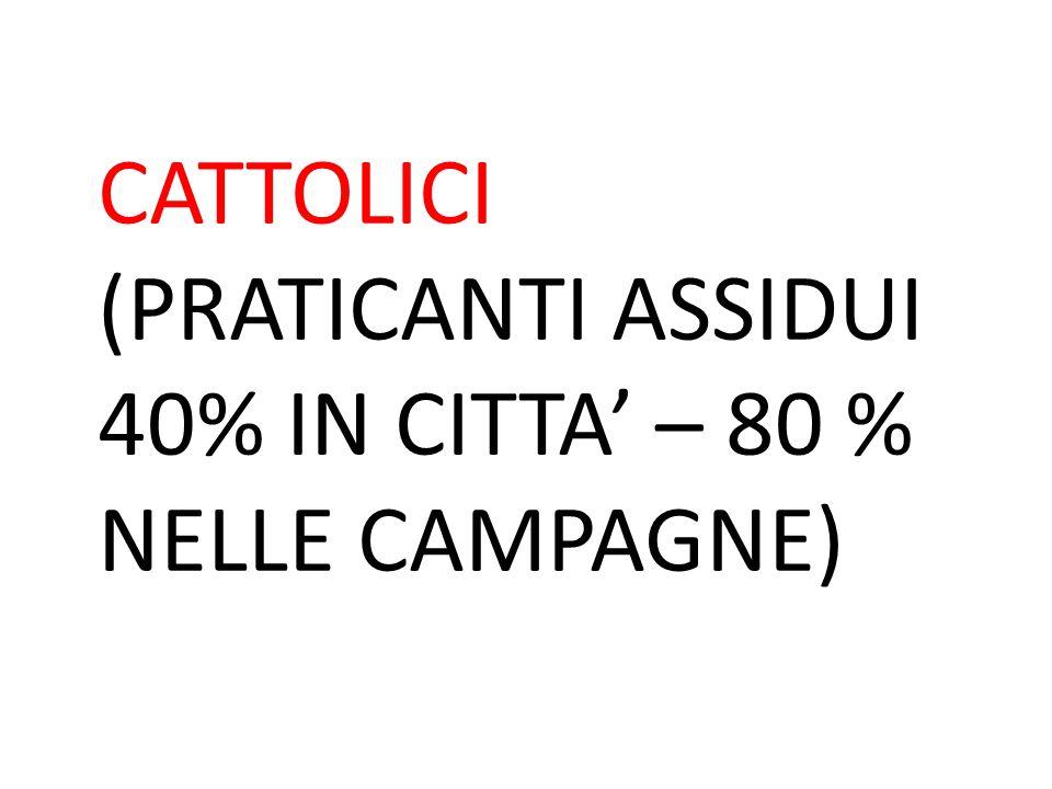 CATTOLICI (PRATICANTI ASSIDUI 40% IN CITTA' – 80 % NELLE CAMPAGNE)