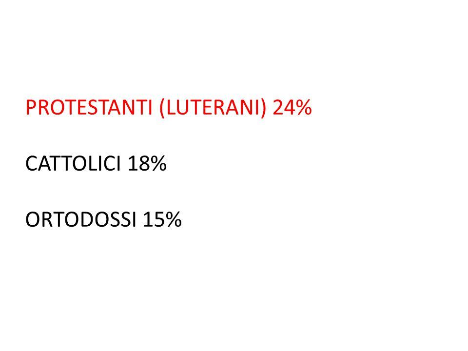 PROTESTANTI (LUTERANI) 24% CATTOLICI 18% ORTODOSSI 15%