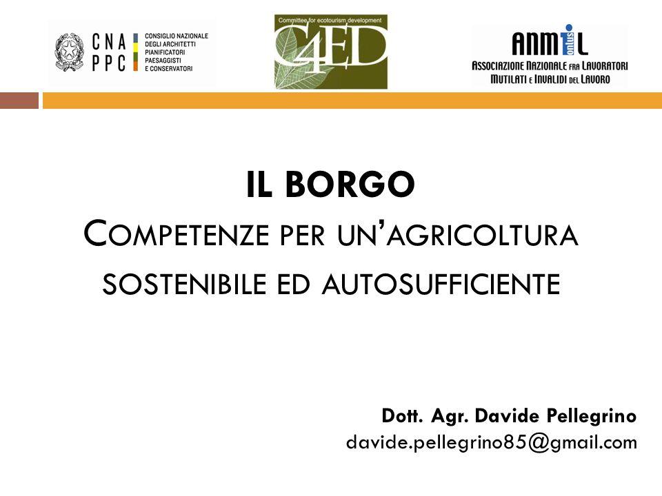 IL BORGO C OMPETENZE PER UN ' AGRICOLTURA SOSTENIBILE ED AUTOSUFFICIENTE Dott.