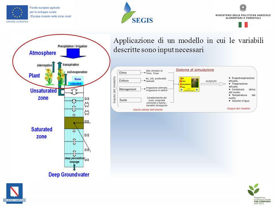 Applicazione di un modello in cui le variabili descritte sono input necessari