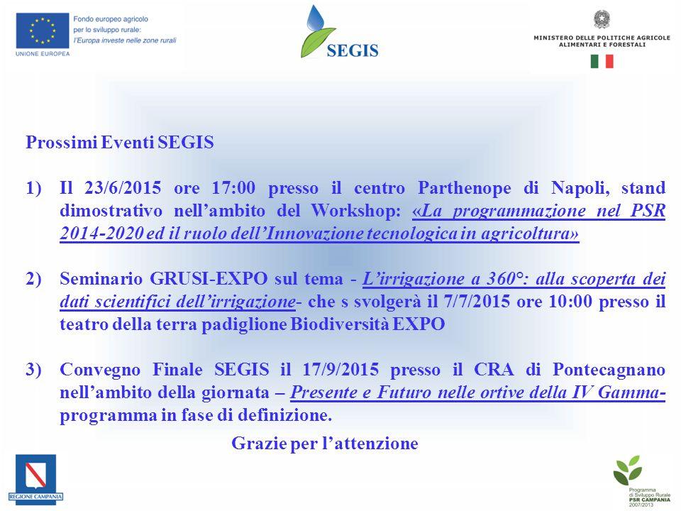 Prossimi Eventi SEGIS 1)Il 23/6/2015 ore 17:00 presso il centro Parthenope di Napoli, stand dimostrativo nell'ambito del Workshop: «La programmazione nel PSR 2014-2020 ed il ruolo dell'Innovazione tecnologica in agricoltura» 2)Seminario GRUSI-EXPO sul tema - L'irrigazione a 360°: alla scoperta dei dati scientifici dell'irrigazione- che s svolgerà il 7/7/2015 ore 10:00 presso il teatro della terra padiglione Biodiversità EXPO 3)Convegno Finale SEGIS il 17/9/2015 presso il CRA di Pontecagnano nell'ambito della giornata – Presente e Futuro nelle ortive della IV Gamma- programma in fase di definizione.