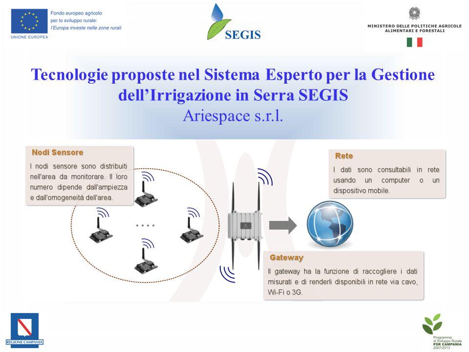 Tecnologie proposte nel Sistema Esperto per la Gestione dell'Irrigazione in Serra SEGIS Ariespace s.r.l.