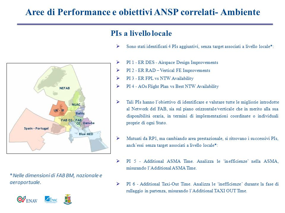  Sono stati identificati 4 PIs aggiuntivi, senza target associati a livello locale*:  PI 1 - ER DES - Airspace Design Improvements  PI 2 - ER RAD –