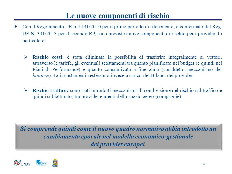 Le nuove componenti di rischio  Con il Regolamento UE n. 1191/2010 per il primo periodo di riferimento, e confermato dal Reg. UE N. 391/2013 per il s
