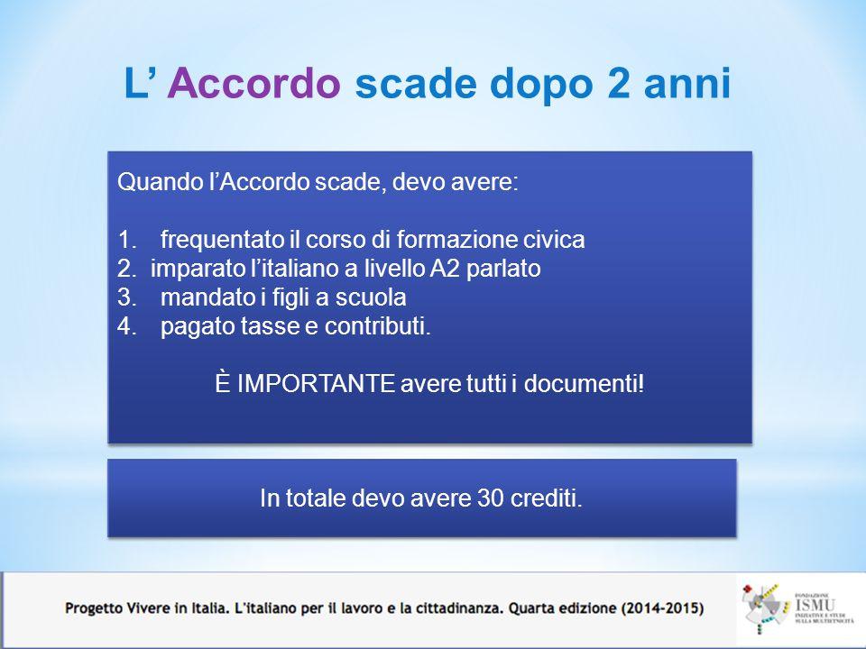 7 Quando l'Accordo scade, devo avere: 1.frequentato il corso di formazione civica 2. imparato l'italiano a livello A2 parlato 3.mandato i figli a scuo