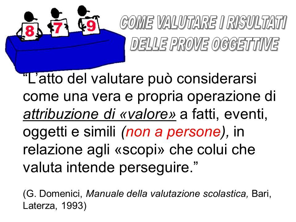 L'atto del valutare può considerarsi come una vera e propria operazione di attribuzione di «valore» a fatti, eventi, oggetti e simili (non a persone), in relazione agli «scopi» che colui che valuta intende perseguire. (G.