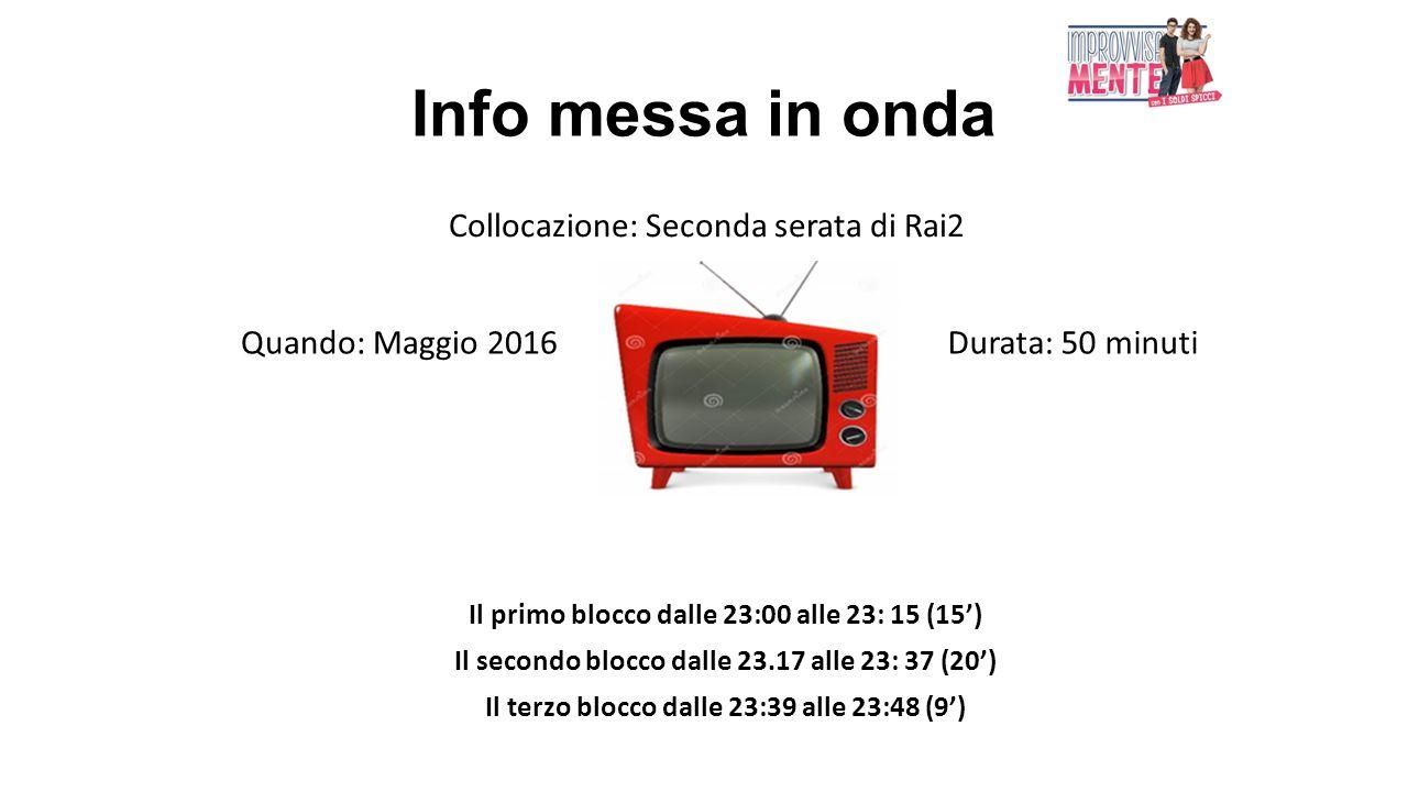 Info messa in onda Il primo blocco dalle 23:00 alle 23: 15 (15') Il secondo blocco dalle 23.17 alle 23: 37 (20') Il terzo blocco dalle 23:39 alle 23:4