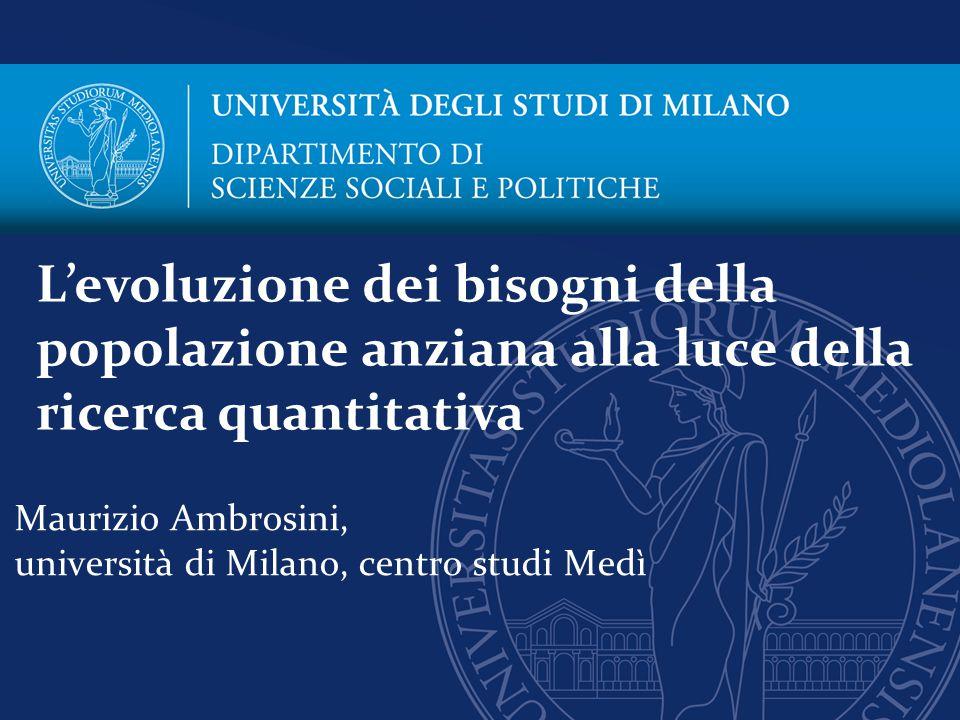 Maurizio Ambrosini, università di Milano, centro studi Medì L'evoluzione dei bisogni della popolazione anziana alla luce della ricerca quantitativa