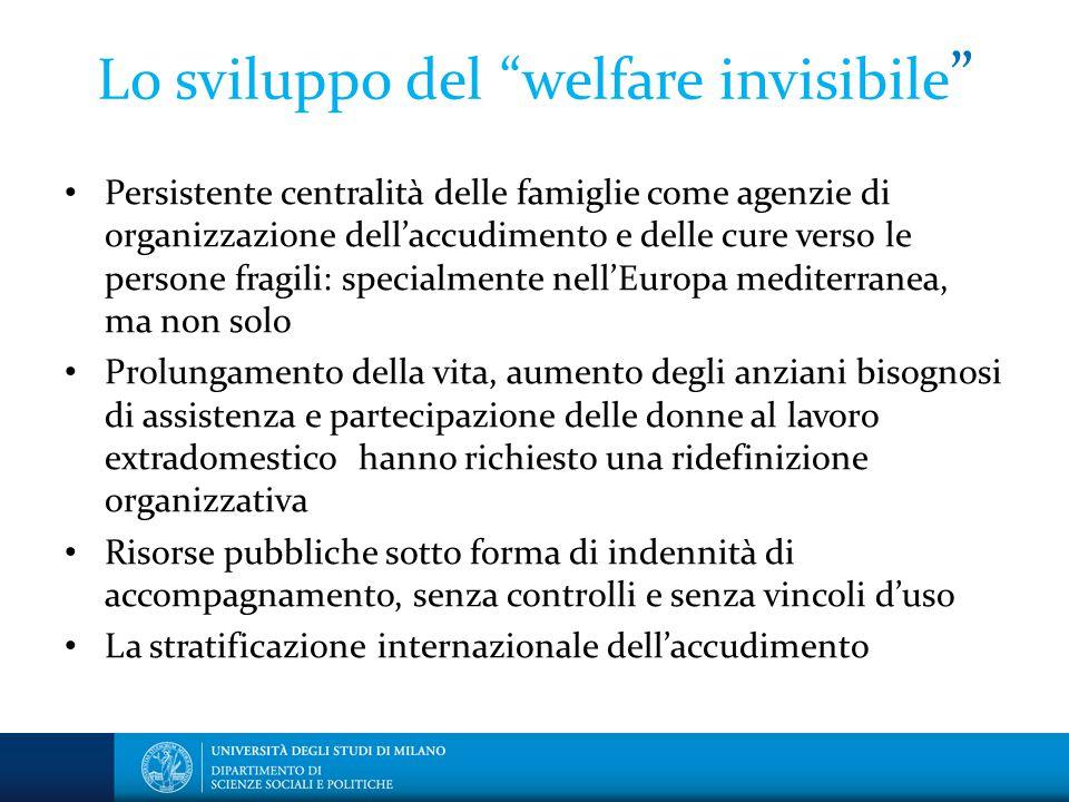 """Lo sviluppo del """"welfare invisibile """" Persistente centralità delle famiglie come agenzie di organizzazione dell'accudimento e delle cure verso le pers"""