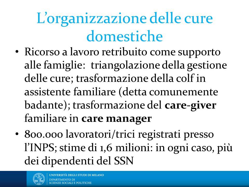 L'organizzazione delle cure domestiche Ricorso a lavoro retribuito come supporto alle famiglie: triangolazione della gestione delle cure; trasformazio