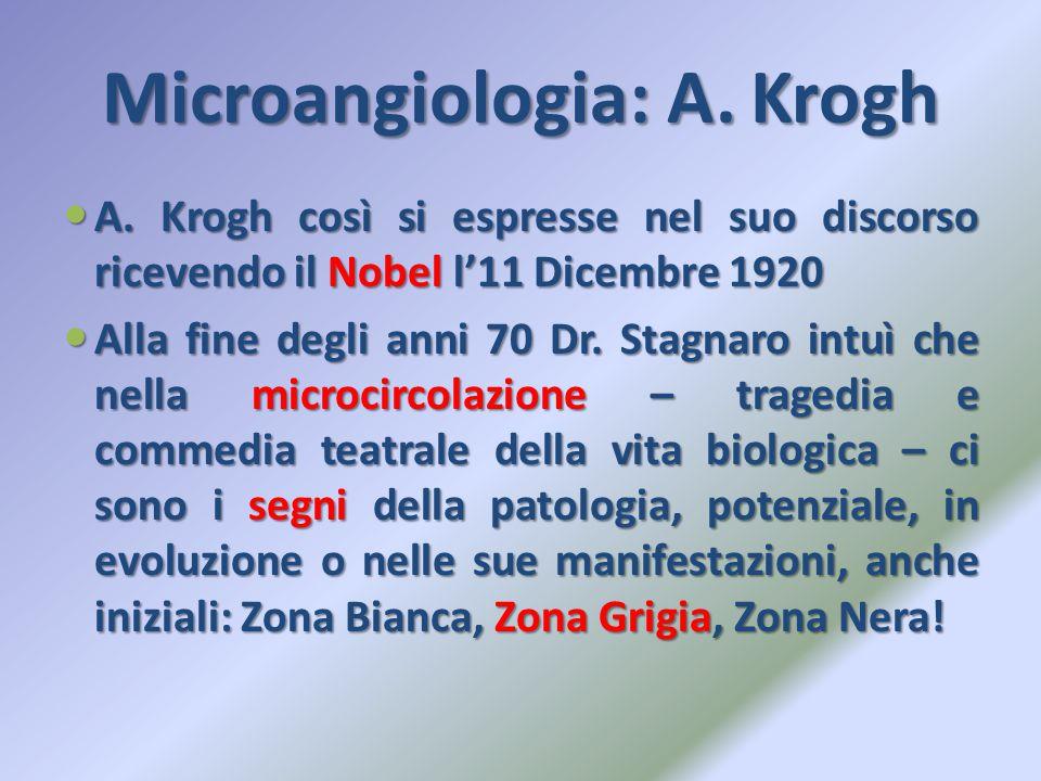 Microangiologia: A. Krogh A. Krogh così si espresse nel suo discorso ricevendo il Nobel l'11 Dicembre 1920 A. Krogh così si espresse nel suo discorso