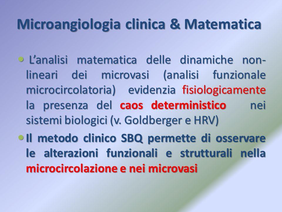 Microangiologia clinica & Matematica L'analisi matematica delle dinamiche non- lineari dei microvasi (analisi funzionale microcircolatoria) evidenzia